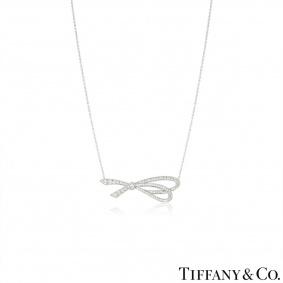 Tiffany & Co. White Gold Diamond Bow Necklace